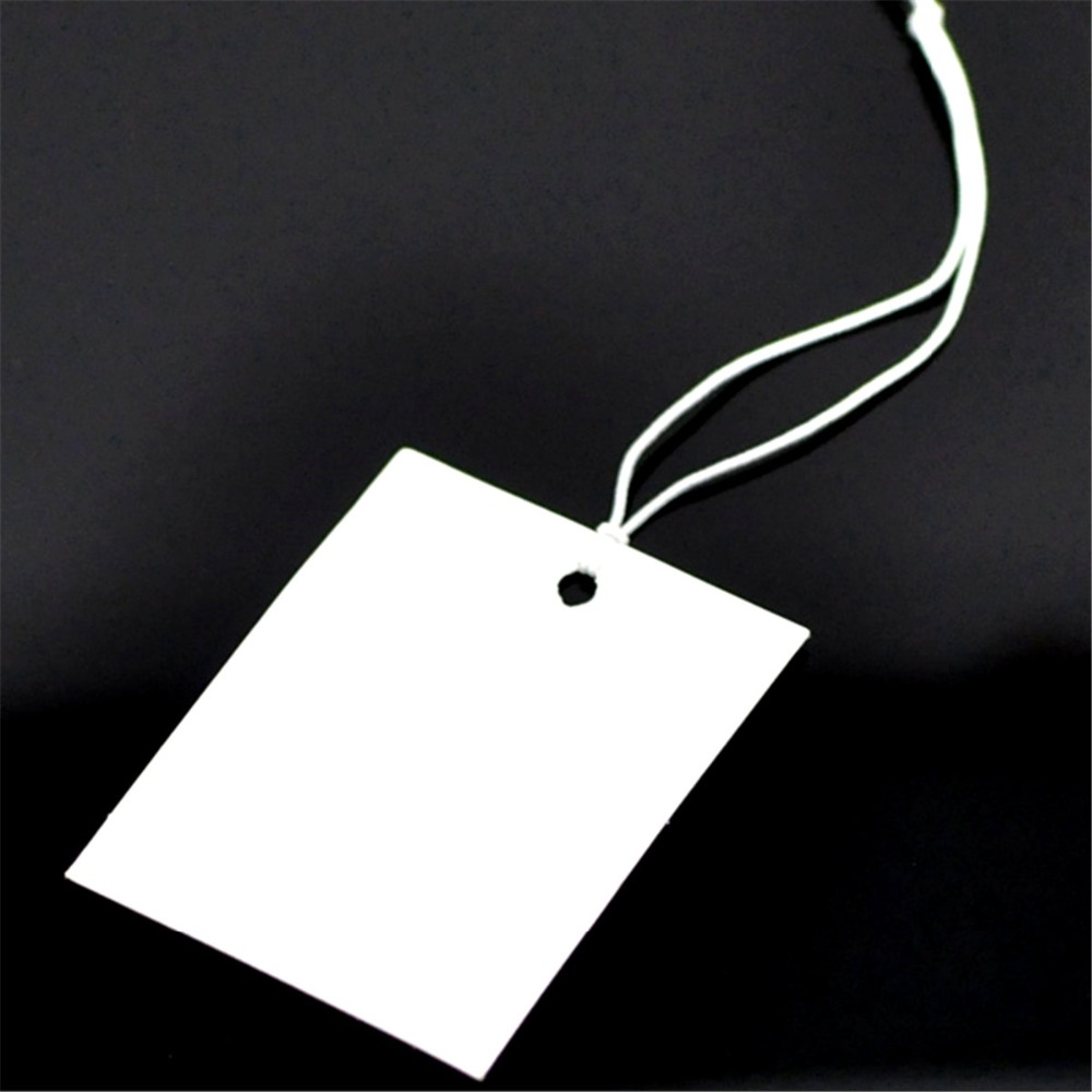 DoreenBeads Paper Label Tags White Blank With String 10cm Long For DIY Blank Price Hang Tag For Clothing Tags 4cm X3cm,200PCs