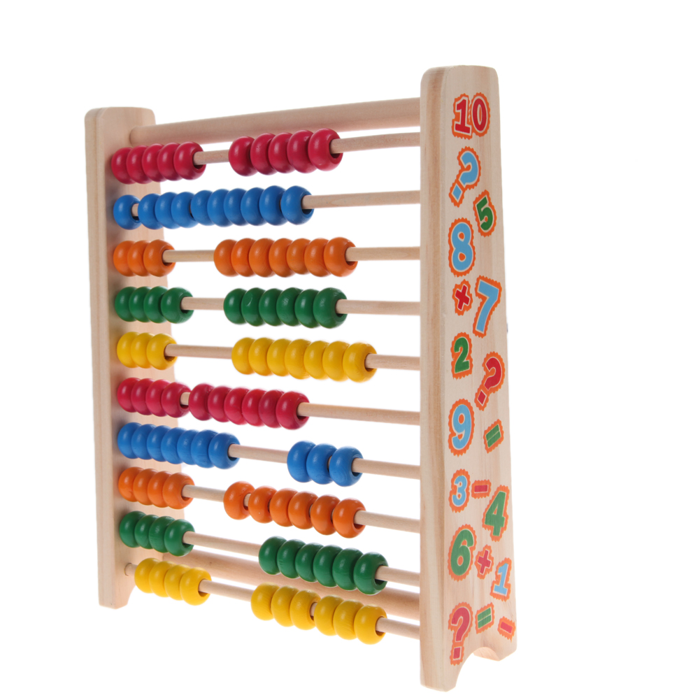 Colorful Wood Montessori Beech Abacus Number Educational Learning Preschool Brinquedos Juguets Training Kids Learn Math Toys montessori baby kids toys wood clown shake tower learning educational preschool training brinquedos juguets