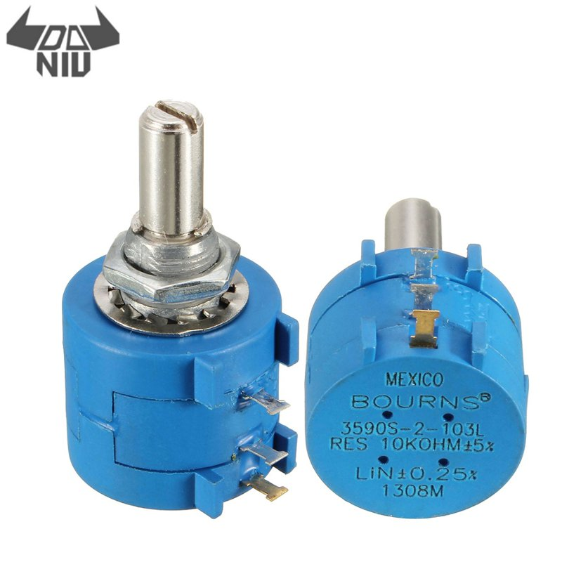 DANIU 1Pcs <font><b>3590S</b></font>-<font><b>2</b></font>-<font><b>103L</b></font> <font><b>10K</b></font> Ohm BOURNS Rotary Wirewound Precision Potentiometer Pot 10 Turn 1000 Hours Life Hour image
