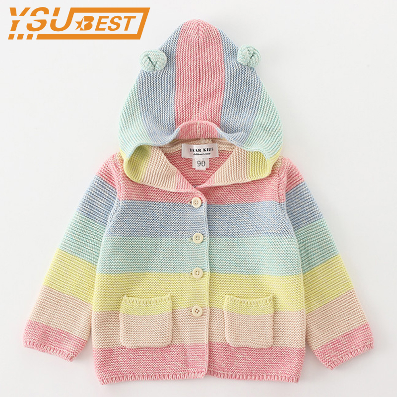 2018 Baby Girls Boys Knitted Outerwear Cardigan Rainbow Children Sweater 1-5Yrs Baby Coat Jacket Top Clothes For Kids Clothes