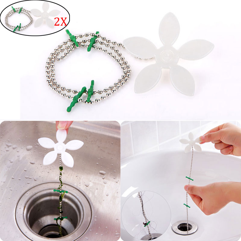2pcs drain hair catcher stopper clog sink strainer flower kitchen bathroom remover cleaning filter strap pipe
