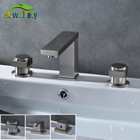 Stainless Steel Brushed Nickel Bathroom Basin Faucet Bathroom Vessel Sink Tap Hot Cold Tap Deck Mounted