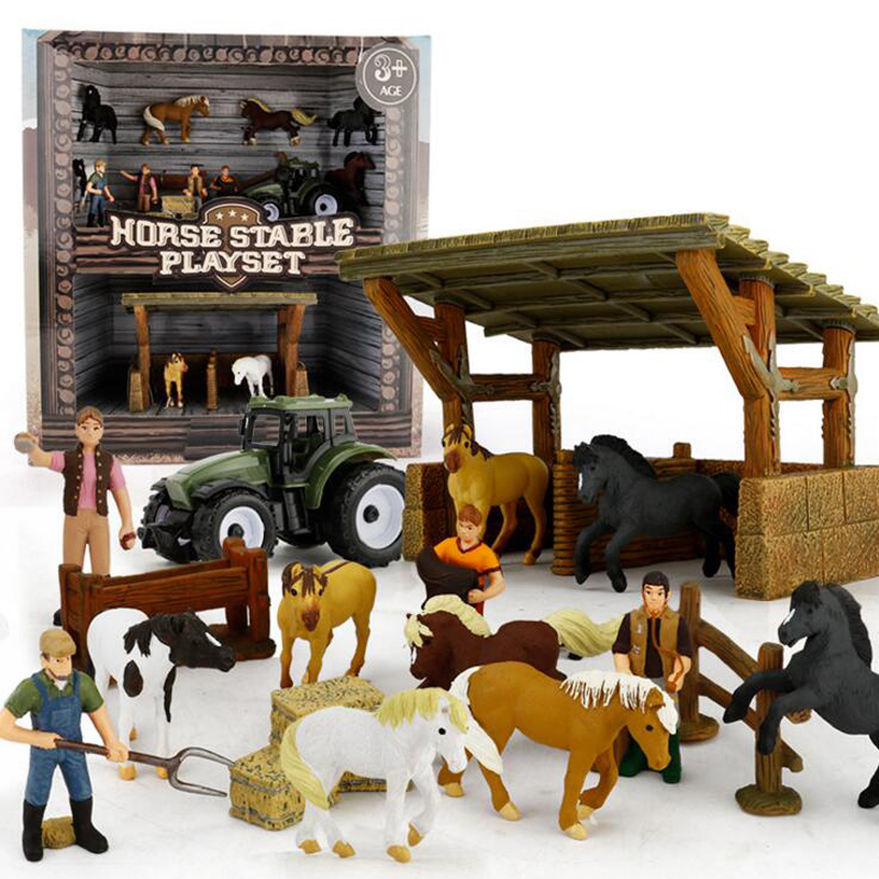 17 PCS/ Set Children Toys Horse Stable Playset Diecast Animals Model Toy Simulated Horses Figures Alloy Cars Education Gifts Boy 65 pcs set small sea animals toy figurine mixed lot ocean creatures fish marine life solid model children gifts free shipping