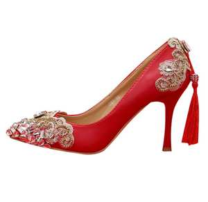 3d9d81a85a98 APRUUK Gold pumps shoe woman point toes lady red party