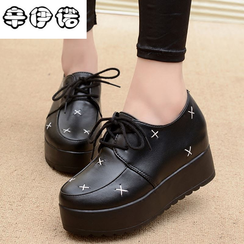 Free Shipping Hidden Wedge Heels Fashion Womens Elevator Shoes Casual Shoes For Women wedge heel Rhinestone Black White Cheap