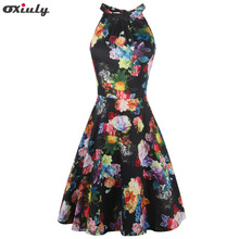 Oxiuly Women's Halter Neck Boho Floral Print Casual Sleeveless Bodycon Hollow out Back A-Line Wrap Dress floral print knot back wrap top