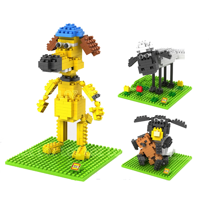 5Pcs LOZ Micro Blocks Shaun Sheep 3D Movie Character Anime Action Figure Diamond Building Blocks Baby Lovely Toy Best Gift 9475 стоимость