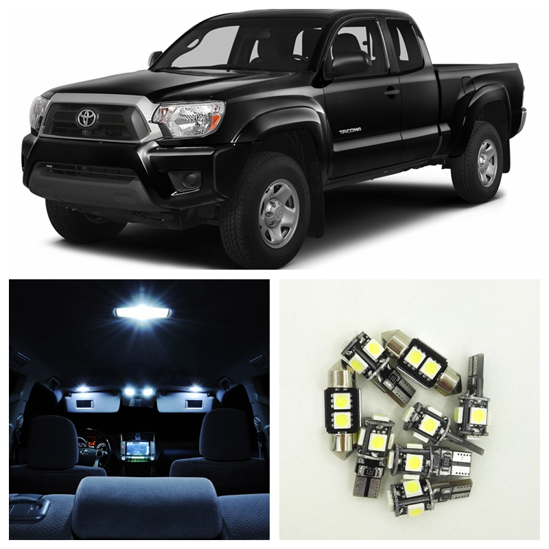 8Pcs White LED Light Bulb Interior Package Kit For 1995-2004 Toyota Tacoma Dome Trunk Door License Plate Light Toyota-B-13 15x canbus dome door license plate light error free white bulb led interior package kit fit for a6 or s6 c5 1998 2004 63
