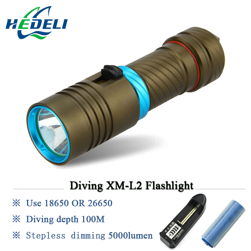 100M Diver Scuba flashlights Diving Flashlight LED Torch underwater light CREE XM L2 Lamp 3200lumen 18650 or 26650 batteries nitecore mt10a 920lm cree xm l2 u2 led flashlight torch