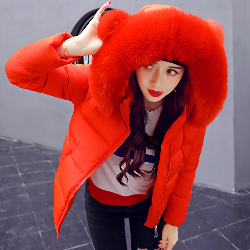 Womens Winter Warm Jacket Short Cotton-padded Overcoat Fashion Ladies Slim   Parka   with Fur Hats Female Hooded Coat Red Army Green