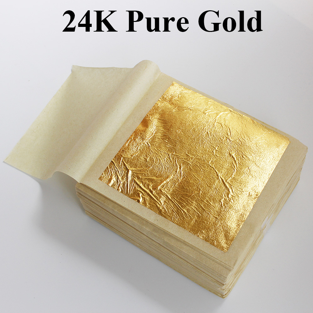 HOT selling, 10 PCS 99.9% 24K genuine gold leaf ,real edible leaf ,food decoration gold leaf, cake/ ice cream/coffee/wine,edible(China)