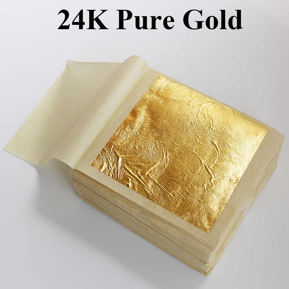 HOT selling, 10 PCS 99.9% 24K genuine gold leaf ,real edible leaf ,food decoration gold leaf, cake/ ice cream/coffee/wine,edible