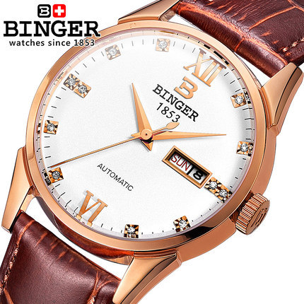 Binger Genuine Leather Luxury Men Watches Chronograph Geneva Switzerland Function Men Top Brand Military Watch Relogio