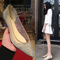 LALA IKAI women flats Transparent Mesh with Bling Rhinestones causal Pointed Toe shoes for ladies XWA0528