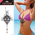 1 pcs Red Green Gemstone Jewerly colorido no peito Tatuagem besta Tatuagem etiqueta do Tatuagem no peito Tatuagem temporária Body Art Tatuagem