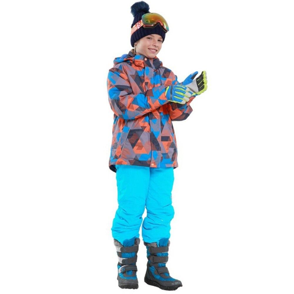 Combinaison de Ski pour garçons/filles pantalon imperméable + ensemble veste Sports d'hiver vêtements épaissis costumes de Ski pour enfants