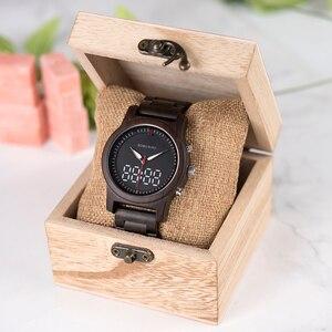 Image 5 - בובו ציפור גברים של שעון דיגיטלי עץ קוורץ שעוני יד תצוגה כפולה עץ שעונים חדש 2019 למעלה מותג C dR02