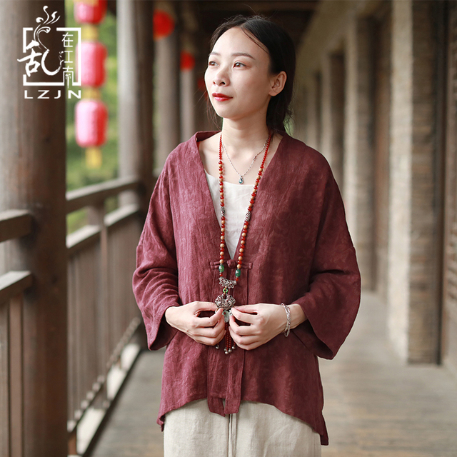 c2a9be1d7dce9 LZJN 3 4 Sleeve Autumn Kimono for Women Trenchcoat Single Button Cardigan  Jacquard Cotton Linen Chinese Style High Low Jacket