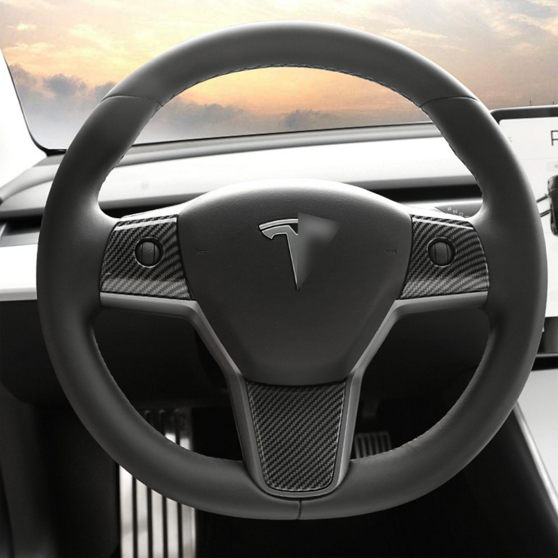 Foal Burning 3PCS/SET  Steering Wheel Panel Cover Trims ABS Carbon Fiber And Wood Grain Fit For Tesla Model 3 2017-2019