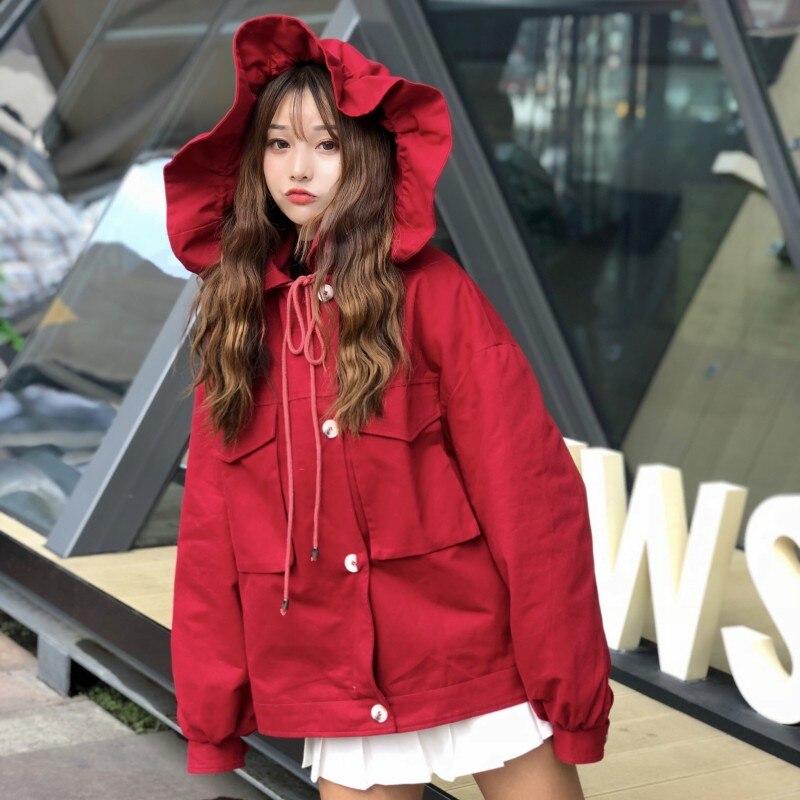 Femmes Arc À Japonais Femelle Chaud Rouge Hiver Noël Doux Col 2019 Manteau Lolita Capuchon Cape Nouveau Laine Fourrure De Style X67WxqHwz