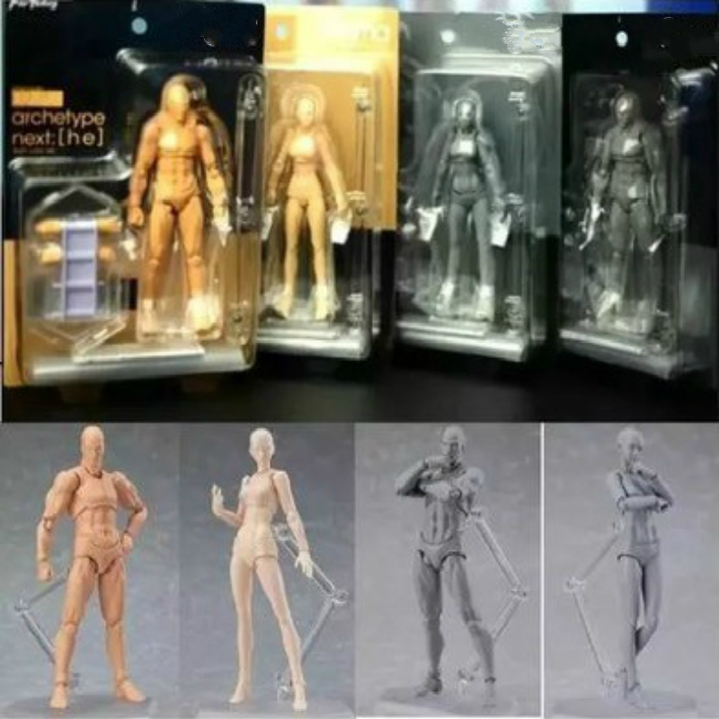 Anime Figma Archetype He She Ferrite Figma Movable BODY KUN BODY CHAN PVC Action Figure Model Toys Doll for Collectible male female movable body joint action figure toys artist art painting anime model doll mannequin art sketch draw human body doll