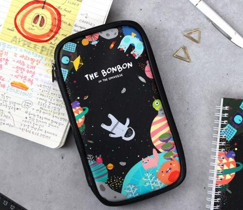 ФОТО Cartoon funny universe pattern multi-function pouch 21*11.3cm navy black pink 2016 new arrives Korean stationery gift