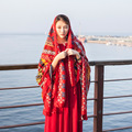 Spring and summer cotton scarves Large national wind sunscreen  beach scarf