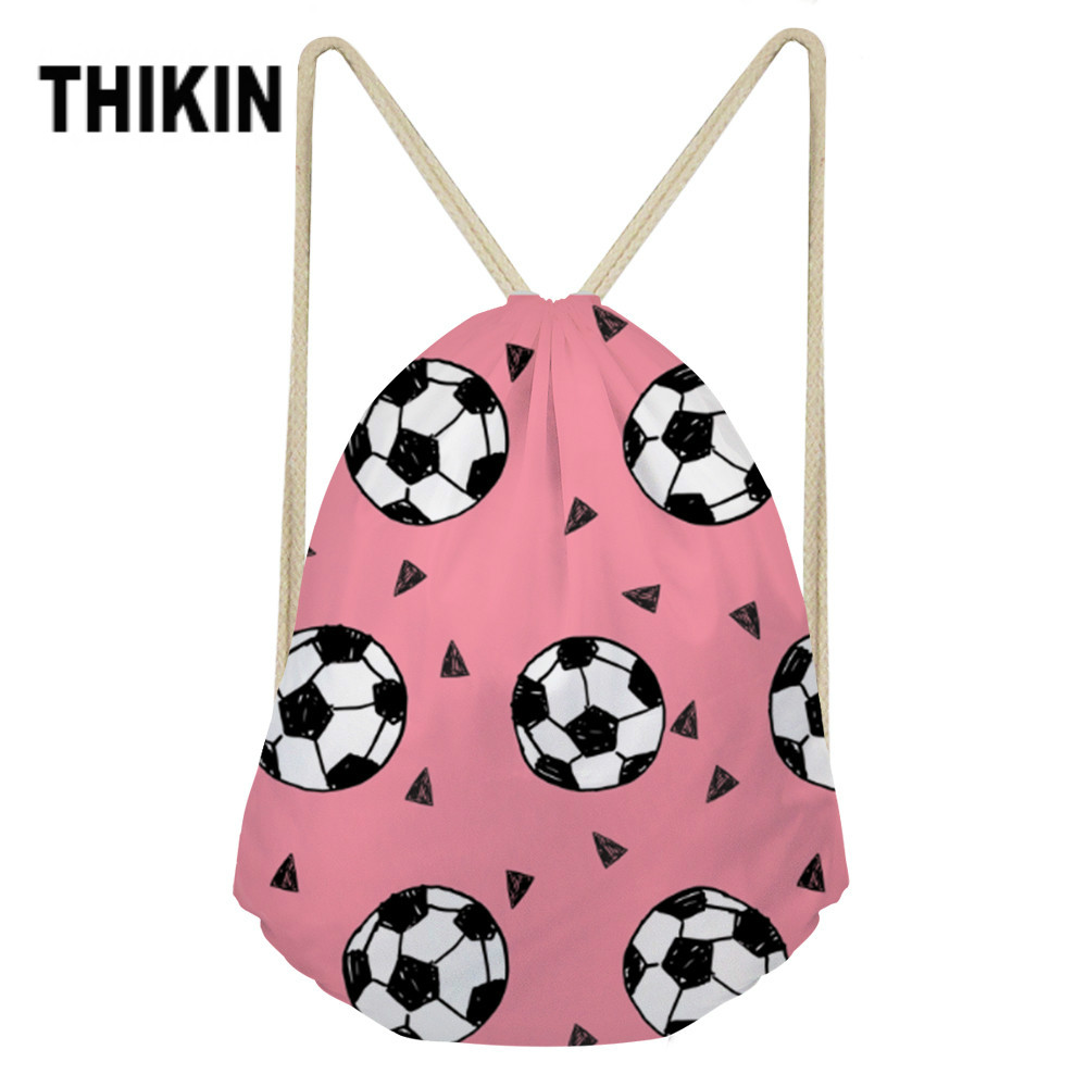 THIKIN 3D Balls Printing Women Drawstring Bag Small Backpack Gym Sack Beach Bags Polyester String Bags For Ladies Custom Package