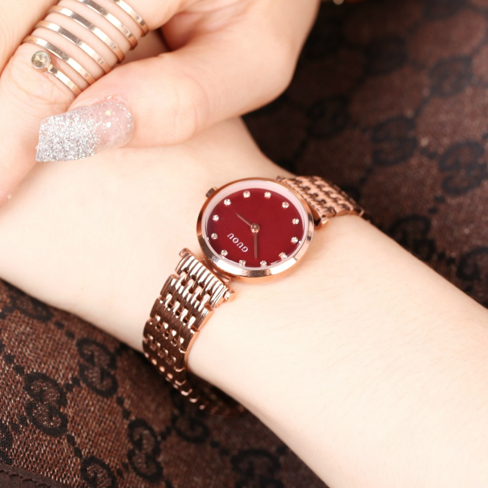 Luxury Fashion GUOU watch women Rhinestone quartz watch relogio feminino the women wrist watch dress fashion watch reloj mujer misscycy lz the 2016 new fashion brand top quality rhinestone men s steel band watch quartz women dress watch relogio feminino