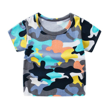 Summer Boys Short Sleeve T Shirts Cartoon Minions Print T-shirt Cotton Camouflage Tee Shirt Baby Boy Tops For Kids Clothing