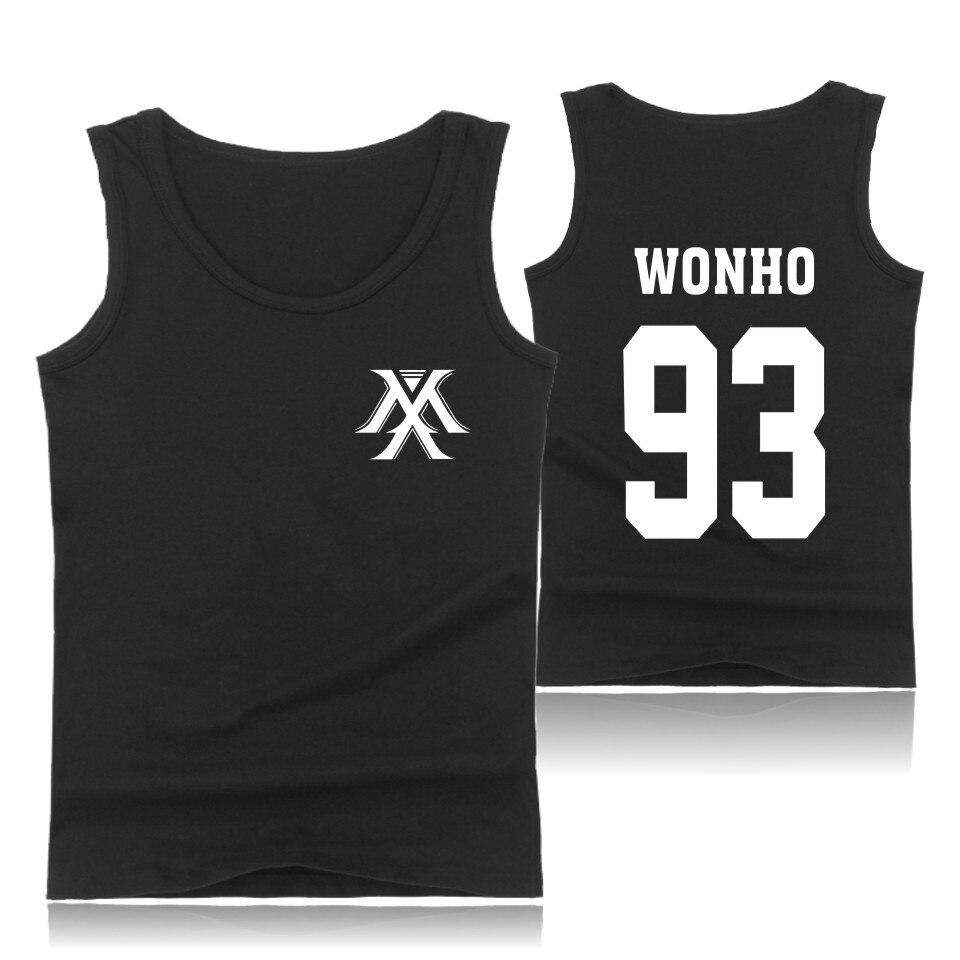 Youpop KPOP Korean Fashion MONSTA X Cotton   Tank     Top   Men Sleeveless Shirt and Plus Size Cartoon Bodybuilding Vests