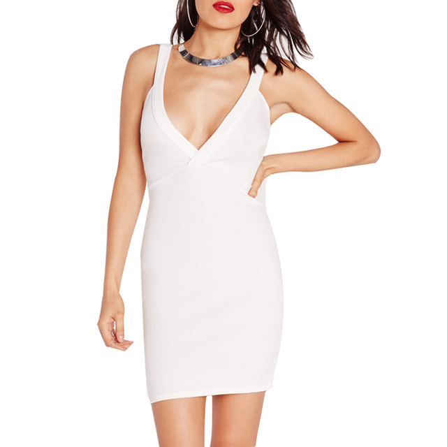Mode Frauen Sexy Weißes Kleid Plunge Hals Bodycon Schlank Vestidos ...