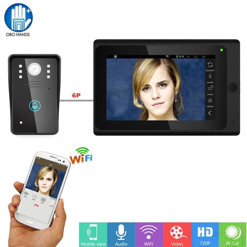 7 дюймов проводной WiFi IP камер видео дверь домофон запись Системы с 1000TVL ИК Камера Поддержка IOS/ android смартфон