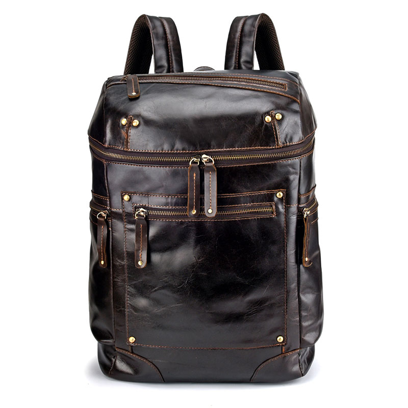 Mode jeune garçon sac à dos en cuir véritable hommes école sac à dos sacs adolescent sacs de voyage hommes sacs pour ordinateur portable