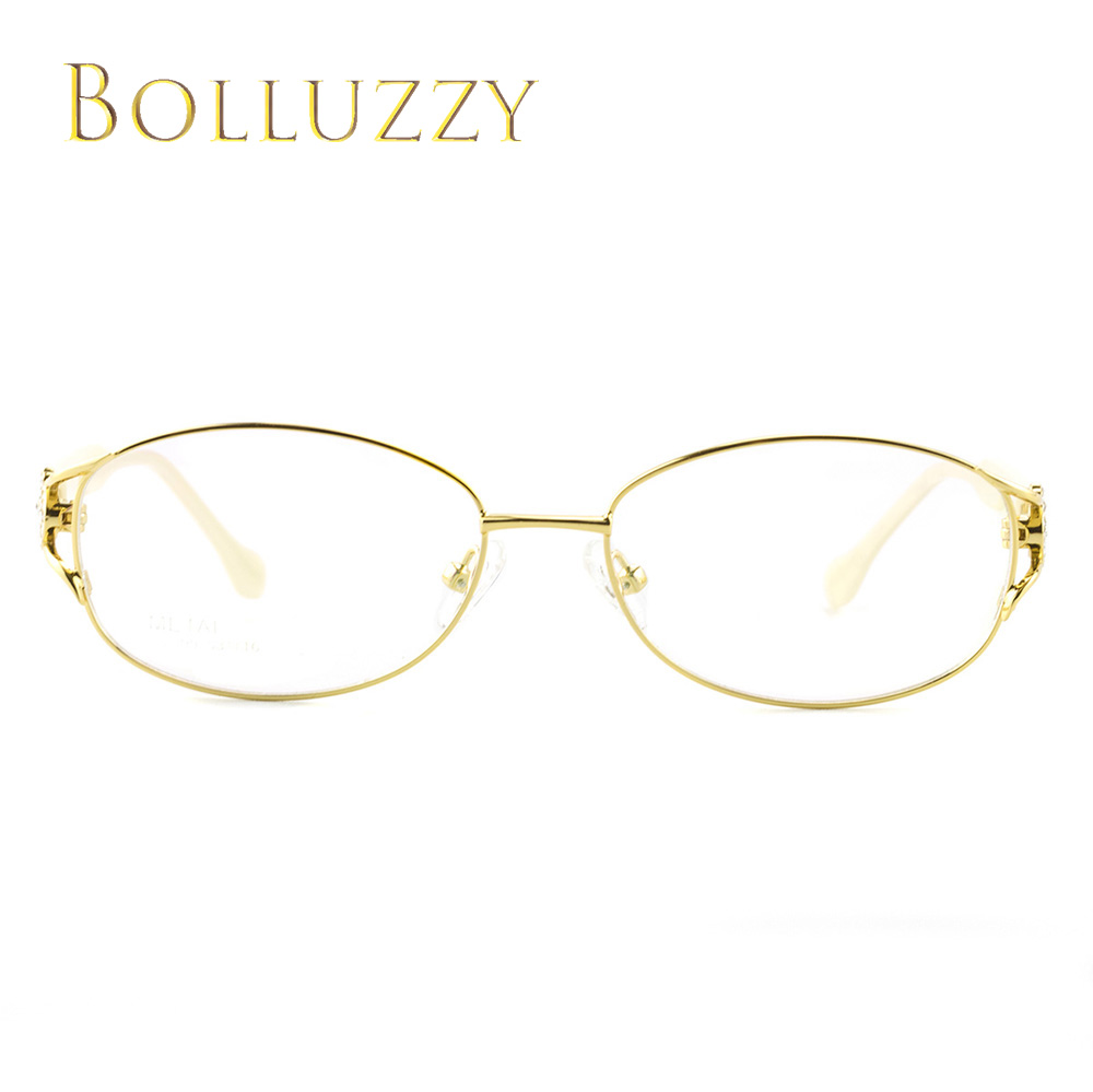 Image 2 - Women's Degree Eyeglasses Frame with Diamonds Rhinestone Golden Hollow Out Optical Eyeglasses Frame With Flower For Women 2399-in Women's Eyewear Frames from Apparel Accessories