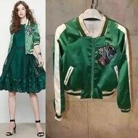 2016 Europe Designer Ladies Short Embroidered Jacket Fashion Women Top Green Bomber Jacket Coats Spring Autumn