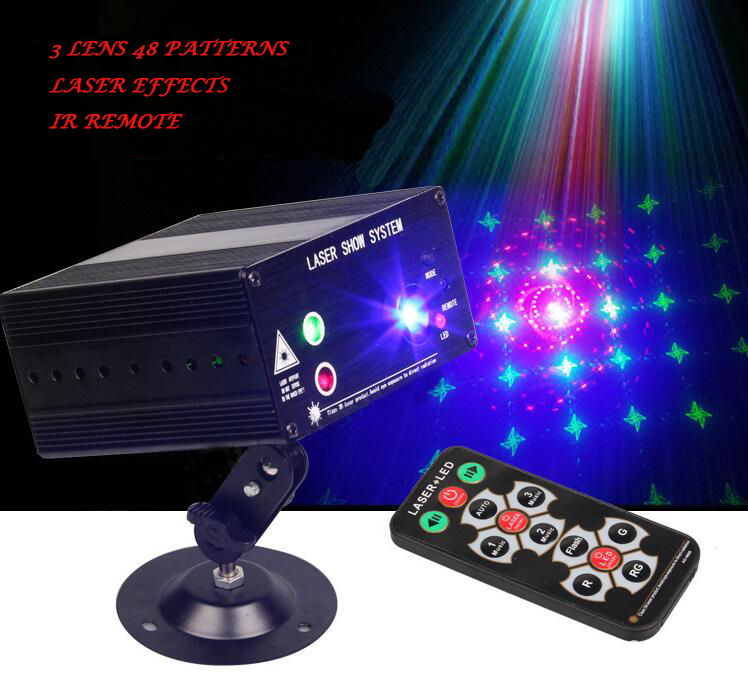 Rasha Hot Sale RG 3 Lens 48 Patterns Laser Light Mixing Color Laser Projector Sound Active IR Remote Control LED Stage Light