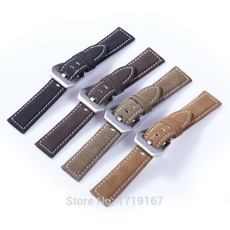 18 20 <font><b>22</b></font> 24 <font><b>mm</b></font> Waterproof frosted Cowhide <font><b>leather</b></font> <font><b>Watch</b></font> <font><b>Band</b></font> Strap Bracelet With PVD Buckle PAM For Tissots Watchband + Tool image