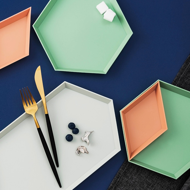 Geometric Solid Color Serving Trays Set