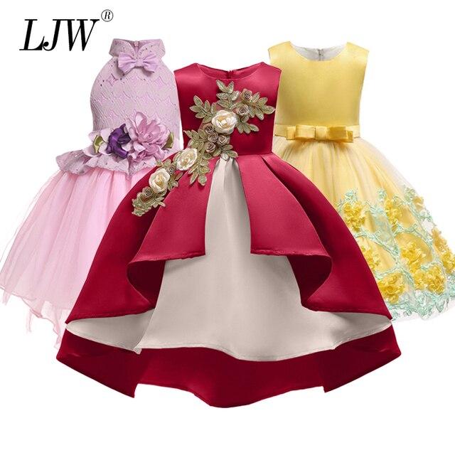 8ca565746b86b طفلة التطريز الحرير الأميرة اللباس ل حفل زفاف الاطفال فساتين ل طفل فتاة  أزياء الأطفال عيد