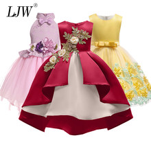 74508ff7de0 Baby Girl embroidery Silk Princess Dress for Wedding party Kids Dresses for  Toddler Girl Children Fashion