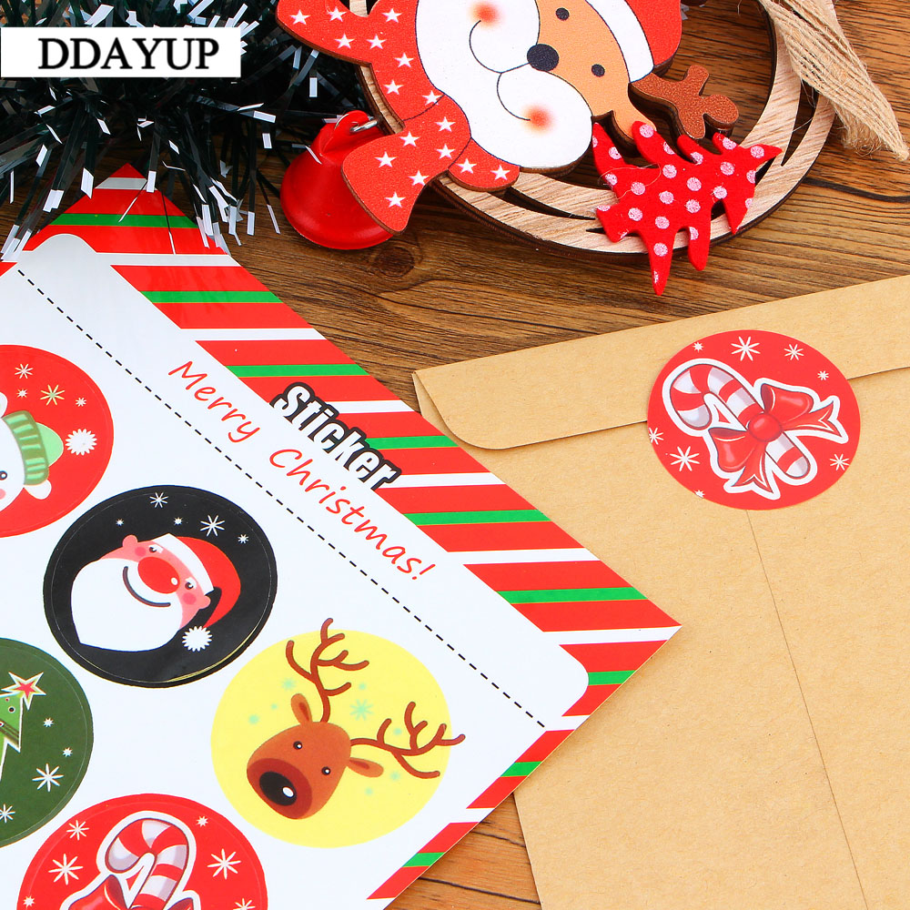 Купить с кэшбэком 90Pcs Merry Christmas Santa Tree Pattern Gift Kraft Sticker Gift Labels Stickers Sweets Party Seal Sticker Santa Claus