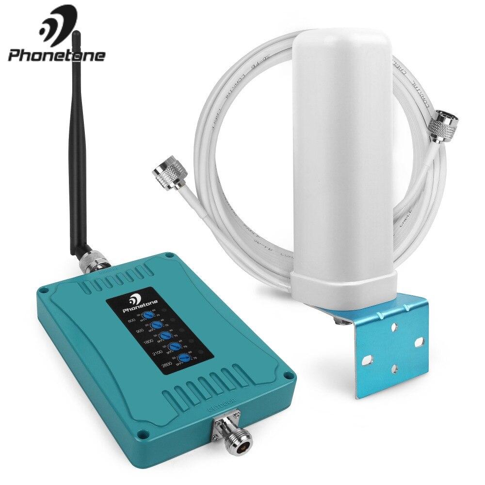 Fünf Band 70dB 800/900/1800/2100/2600 mhz EGSM 3g W-CDMA 4g LTE handy Signal Booster Repeater + Antenne für Home Offiice Verwenden