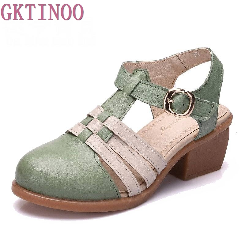 2019 summer sandals genuine leather shoe cowhide breathable women's shoes strap medium Heels shoes cow muscle shoes thick heel