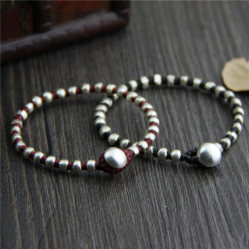 Real 925 Sterling Silver Round Beads Lucky Red Rope Bracelet Handmade Bangle Wax String Amulet Jewelry new s925 sterling silver bell red string rope bracelets lucky beads red thread bracelets
