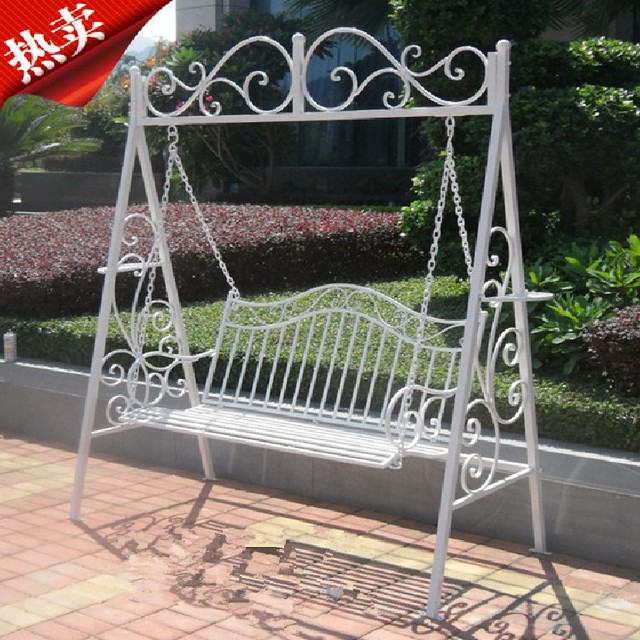 American Wrought Iron Outdoor Swing French Rocking Chair Chaise