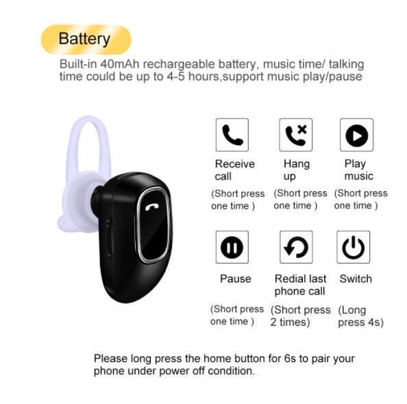 Mini Bluetooth Earphone Headset free Call Earphones for iPhone Samsung Android Phone