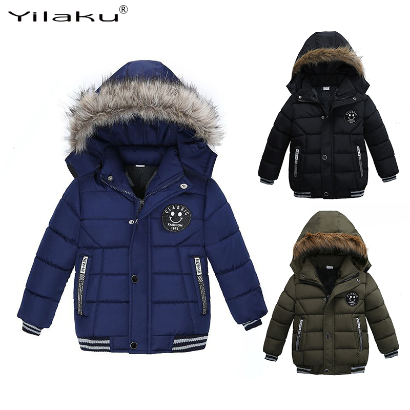 Yilaku duck down jacket kids boy winter snowsuit long sleeve Thick Fur Collar Hooded Boys Clothing Outerwear Coats Pockets CG383 stylish turn down collar long sleeve zip pockets women s black jacket