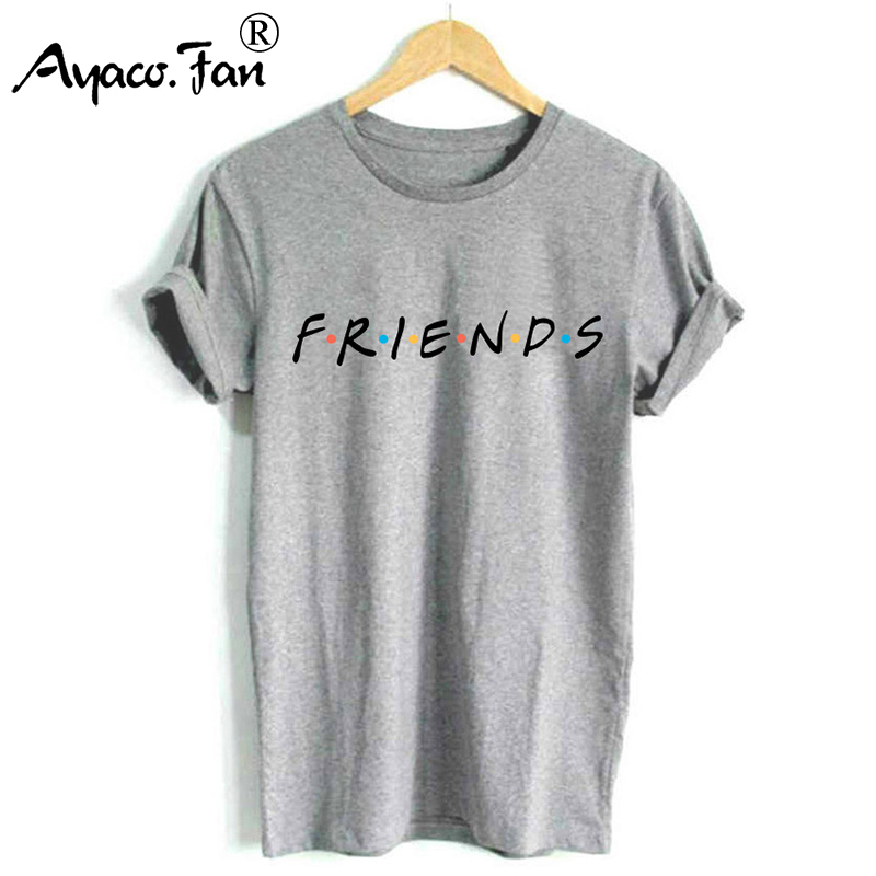 FRIENDS Letter Print T-Shirts for Female Girl Boyfriend Women TShirt Casual O-Neck Funny T-Shirt Loose Cute Lady Top Tee Hipster image