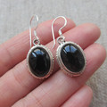 Nepal Silver 925 Silver Earrings studded black agate No. 1400110116